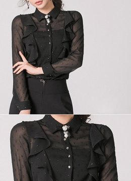 Sheer Dot Patterned Ruffle Collared Blouse, Styleonme