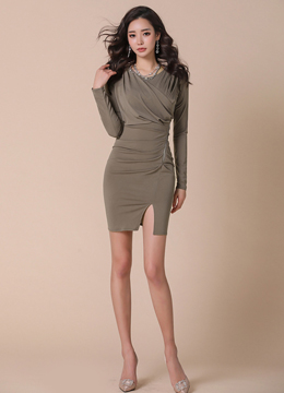 Front Slit Shirred Slim Fit Dress, Styleonme