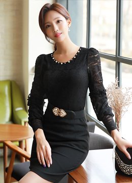Pearl Neckline Peplum Lace Blouse, Styleonme