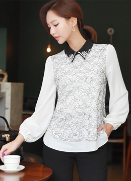 Cubic Collared Floral Lace Blouse, Styleonme