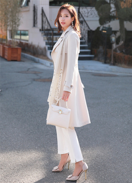Classic Double-Breasted Long Trench Coat, Styleonme