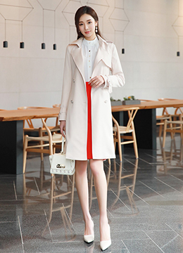 Spring Color Waist Tie Trench Coat, Styleonme