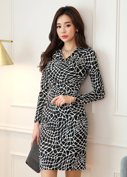 Monocolor Patterned Wrap Style Shirred Dress, Styleonme