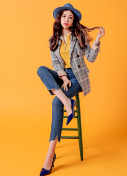 Yellow Check Print Tailored Jacket, Styleonme