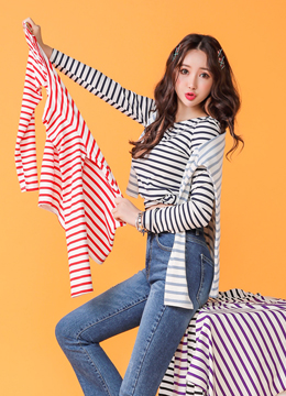 Stripe Long Sleeve Tee, Styleonme
