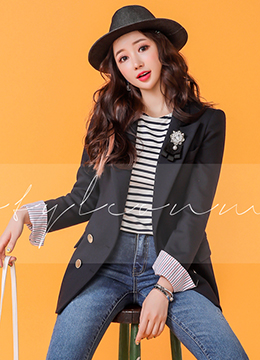Pinstripe Fold-Up Sleeve Double-Breasted Tailored Jacket, Styleonme