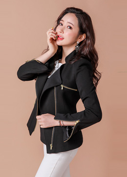Gold Zipper Rider Jacket, Styleonme