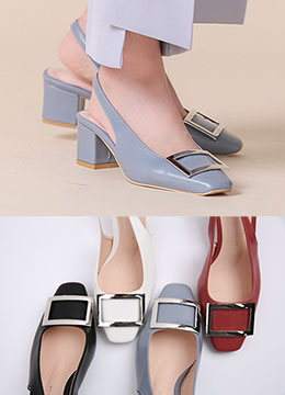 Silver Squared Buckle Slingback Heels, Styleonme