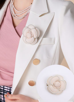 Luxury Pearl Rose Brooch, Styleonme