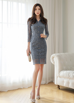 [Weekly Best]Gold Button Slim Fit Lace Dress, Styleonme