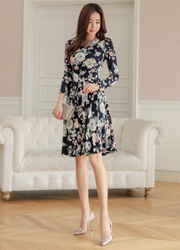 Romantic Floral Wrap Style Flared Dress, Styleonme