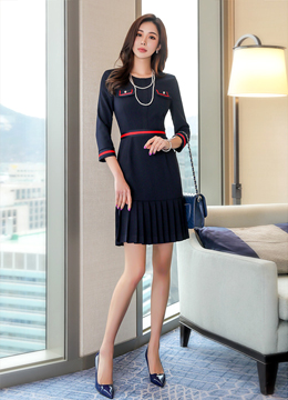 [Weekly Best]Pearl Button Pleated Hem Dress, Styleonme
