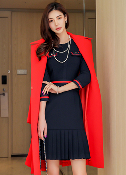 Wide Collar Waist Tie Flared Long Coat, Styleonme