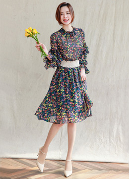 Floral Print Ruffle Sleeve Flared Dress, Styleonme