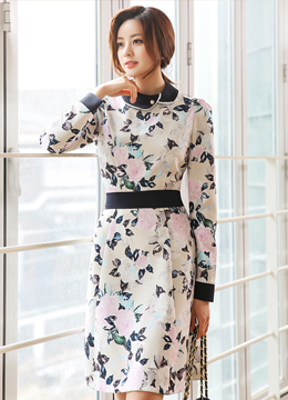 Blooming Rose Print Belt Set Flared Dress, Styleonme