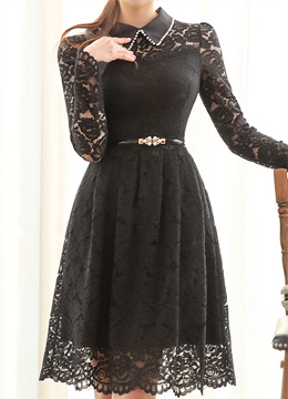 Pearl Accent Collared Floral Lace Dress, Styleonme