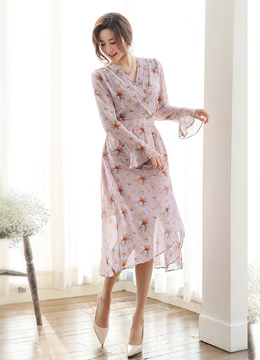 Floral Print Chiffon Long Dress, Styleonme