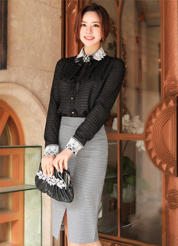 [Weekly Best]Cubic Brooch Set Lace Trim Collared Blouse, Styleonme
