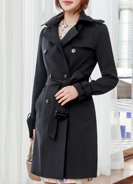 Storm Panel Double-Breasted Trench Coat, Styleonme