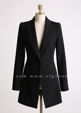 Single Button Long Tailored Jacket, Styleonme