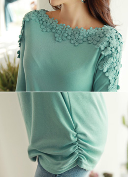Floral Lace Accent Soft Tee, Styleonme