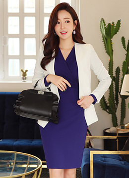 Single Button Collarless Slim Fit Jacket, Styleonme