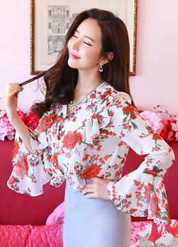 Romantic Floral Print Frill Chiffon Blouse, Styleonme