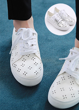 Flower Motif Punched Sneakers, Styleonme