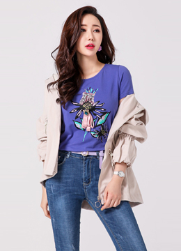 [Weekly Best]Sequined Tulip Brooch Set T-shirt, Styleonme