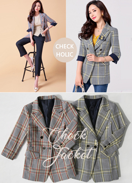 Perfect Fit Color Check Print Tailored Jacket, Styleonme