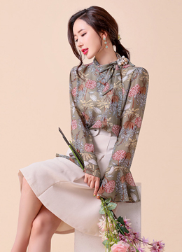 Floral Print Ribbon Tie Bell Sleeve Blouse, Styleonme