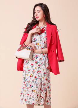 Floral Print Balloon Sleeve Long Dress, Styleonme