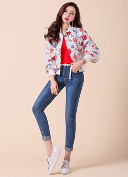 Floral Print Zip-Up Blouson Jacket, Styleonme