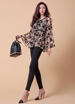 [Weekly Best]Black Rose Patterned Ribbon Tie Blouse, Styleonme