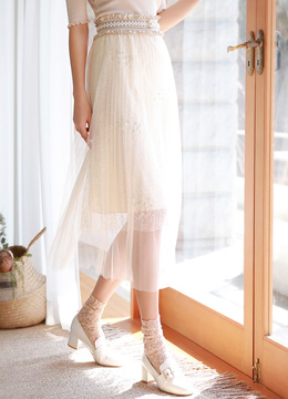 Pearl Accent Long Lace Tulle Skirt, Styleonme