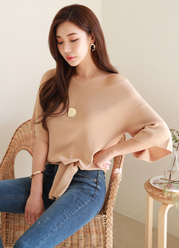 [Weekly Best]Scoop Neck Tie-front Knit Top, Styleonme