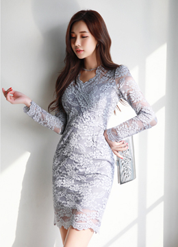 Floral Lace V-Neck Dress, Styleonme