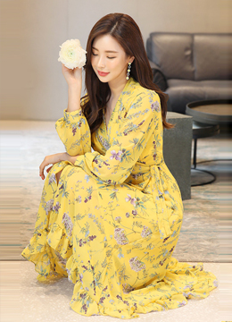 Floral Print Ruffle Hem Long Wrap Dress, Styleonme
