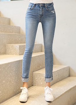 Roll-Up Hem Destroyed Straight Leg Jeans, Styleonme