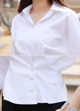 Wrap Style Collared Shirt Blouse, Styleonme