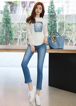 Hotfix Rose Print Lace Sleeve T-shirt, Styleonme