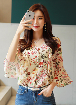 Spring Floral Print Bell Sleeve Chiffon Frill Blouse, Styleonme