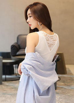 Back Lace Detail Knit Tank Top, Styleonme