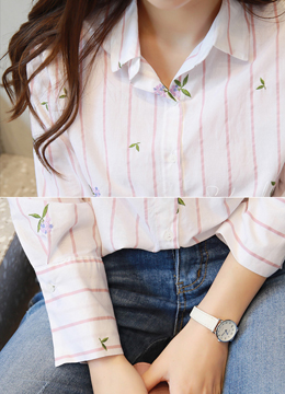 Mini Flower Embroidered Pinstripe Collared Shirt, Styleonme