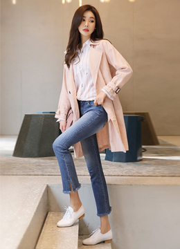 Linen Double-Breasted Trench Jacket, Styleonme