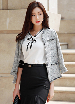 Classic Collarless Tweed Jacket, Styleonme