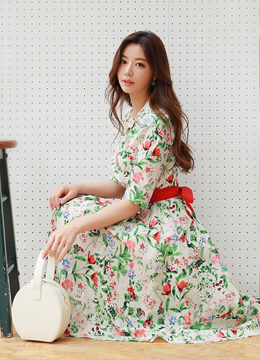 Floral Print Ribbon Waist Tie Flared Dress, Styleonme
