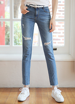 Destroyed Light Blue Wash Straight Leg Jeans, Styleonme