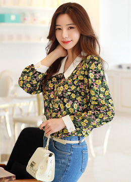 Floral Print V-Neck Collared Blouse, Styleonme
