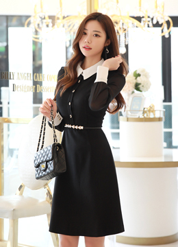 Chiffon Sleeve Detail Collared Dress, Styleonme